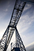 Looking up at a transporter bridge — Stock Photo