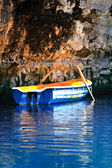 Blue Rowing boat Melissani Cave — Stock Photo
