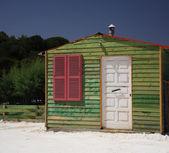 Green beach hut Kefalonia — Stock Photo