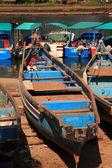Azul barcos goa india — Foto de Stock