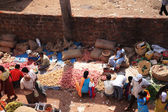 Looking down onto an Indian food market Goa — Stock Photo