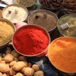 Bowls of cooking spices in Indian market — Stock Photo