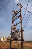 Busy old powerline Goa — Stock Photo