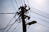 Silhouette of a powerline — Stock Photo