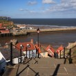 Stock Photo: View down steps to harbour Whitby