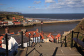 View down the steps to the harbour Whitby — Stock Photo