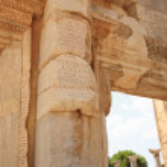Inscriptions on the columns at Ephesus — Stock Photo