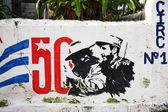 Graffiti marking 50 years of the revolution in Cuba — Stock Photo