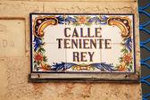 Sign for Calla Teniente Rey Cuba — Stock Photo