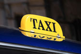 Yellow taxi sign Cuba — Stockfoto