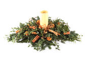 Cinnamon and oranges Christmas table decoration — Stock Photo