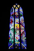Stained glass window Hallgrimskirkja — Zdjęcie stockowe