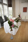 Wedding Ceremony table and flowers — Stock Photo