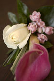 Cala lily and rose buttonhole — Stock Photo