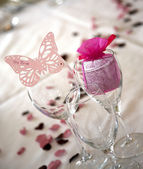 Butterfly bride place setting — Stock Photo