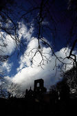 Kirkstall Abbey framed by trees — Foto Stock