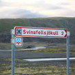 Svinafellsjokull signpost — Stock Photo