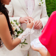 The wedding ceremony, the bride and groom exchange rings. — Stock Photo