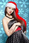 Das neue Jahr Mädchen in einem cap — Stockfoto