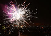 Colorfull fireworks at night city sky — Stok fotoğraf