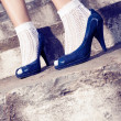 Blue pumps — Stock Photo