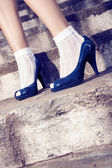 Blue pumps — Stock fotografie