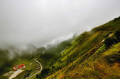 Incredible landscape with foggy mountains — ストック写真