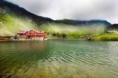 Incredibile paesaggio con montagne nebbiose — Foto Stock