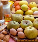 Apples, eggs, biscuits, lemons, oranges. — Stock Photo