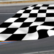 Stock Photo: Chequered flag on racetrack.