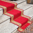 Red carpet on stone steps. — Stock Photo