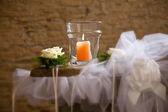 Candela con rose — Foto Stock