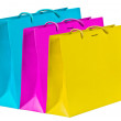 Stock Photo: Cyan, magenta, yellow shopping bags.
