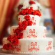 Stock Photo: Wedding cake with roses
