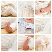 Collage of nine photo of baby. — Stock Photo