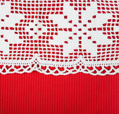 Red paper with lacy border — Stok fotoğraf