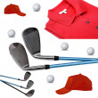 Stock Photo: Golf clubs, polo, ball and cap on white