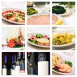 Collage of food and wine — Stock Photo