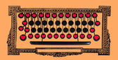 Old keyboard with red hearts. — Stock Photo
