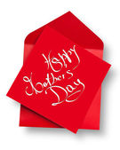 Happy Mother's Day on red card and envelope — Stock Photo