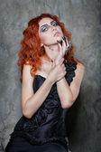 Halloween, witch, vampire — Stock Photo