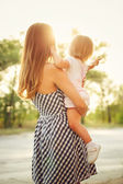Family, mother and daughter, sunset — Stock Photo