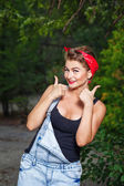 Pin-up girl give thumbs-up — Stock Photo