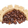 Coffee beans and sugar — Zdjęcie stockowe #32745629