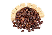 Coffee beans and sugar — Stock Photo
