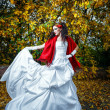 Bride with red shawl — Stock Photo