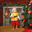 Baby Christmas gifts and Christmas tree — Stock Photo