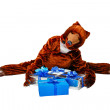 Bear and gifts — Stock Photo