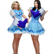 Attractive girls in costume Snow Maiden — Stock Photo