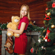 Girl and Christmas — Stock Photo